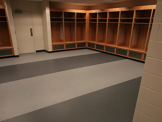 Locker Room Flooring - Huntington Center Arena