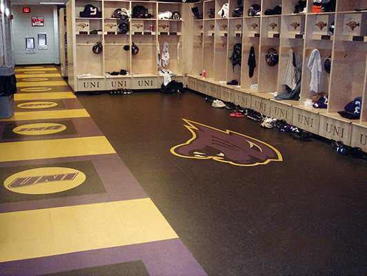 University Of Northern Iowa Locker Room Flooring