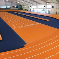 Clemson University Installed A Banked Indoor Track With Mondo Surface