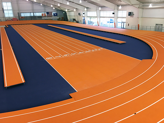 Clemson University New Banked Indoor Track With Mondo