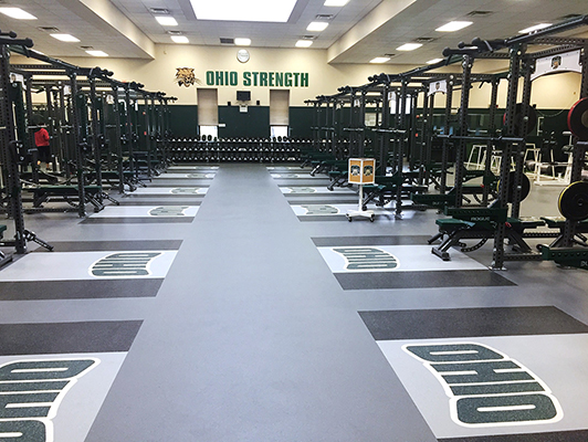 Ohio University Carin Strength Center Weight Room Flooring