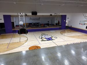 wood gym floor - Ingersoll Middle School