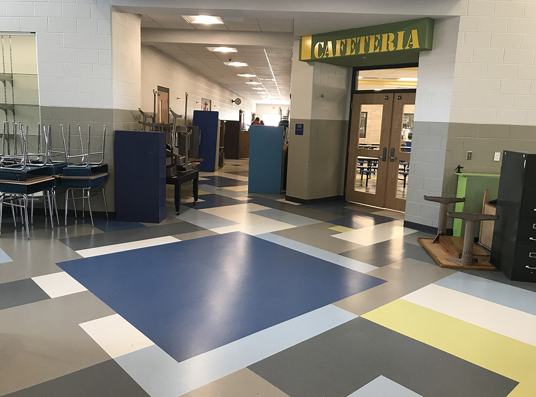 Toliver Elementary School - Cafeteria Rubber Flooring